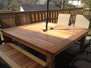 Ana white simple square cedar outdoor dining table diy for Easy diy patio table