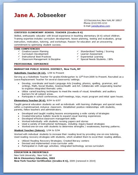 Elementary Resume Exles 2012 by 25 Best Ideas About Resumes On