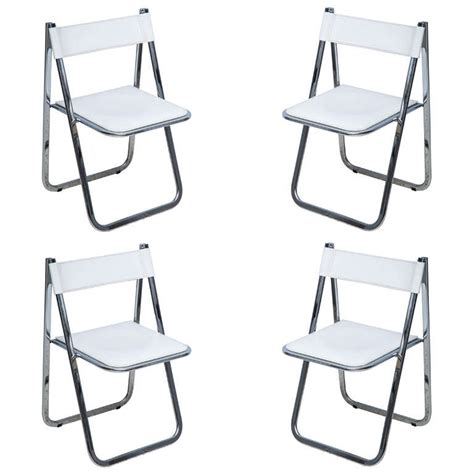 set of four italian leather folding chairs at 1stdibs