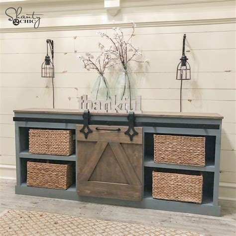 diy sliding barn door console shanty  chic