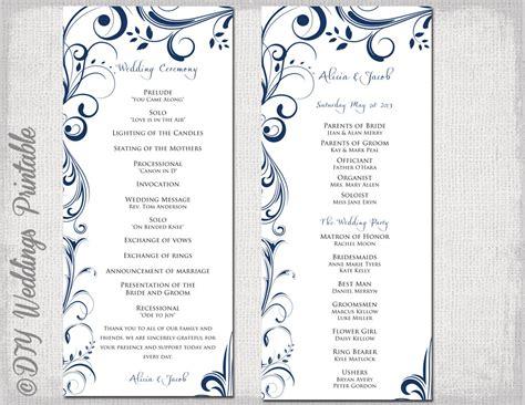 wedding program template navy blue instant