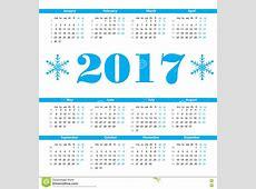 Calendar 2017 Year Vector Design Template With Week