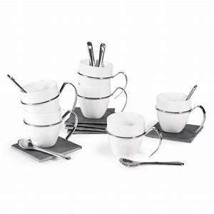Tasse à Café Maison Du Monde : coffret 6 tasses caf en porcelaine avec soucoupes cuill res ardoise maisons du monde ~ Teatrodelosmanantiales.com Idées de Décoration