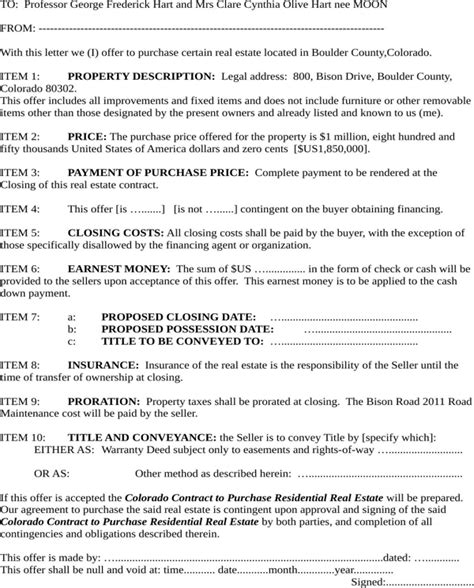 colorado real estate purchase agreement simple form download colorado offer to purchase real estate form for