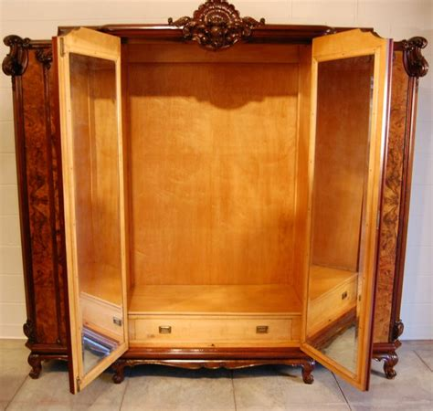 Clothing Wardrobes For Sale by Large Swedish Rococo Walnut Burl Armoire Or Wardrobe
