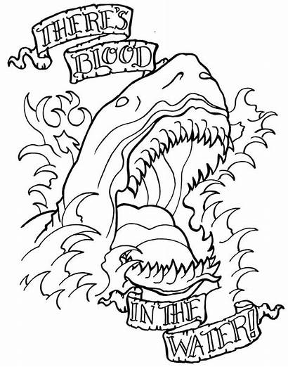 Coloring Tattoo Adult Pages Printable Shark Tattoos