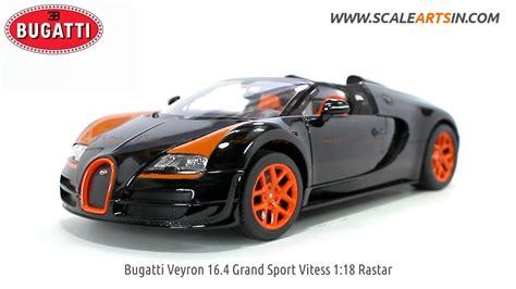 bugatti veyron 16 4 grand sport vitess 1 18 rastar black diecast scale car scaleartsin