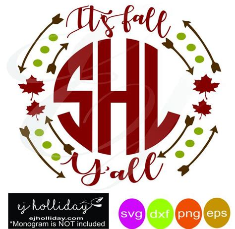 fall yall double leaves arrow monogram frame svg dxf