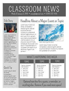 newsletter templates editable school newsletter template