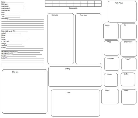 Character Sheet Template Reference Template Reference Sheet Template