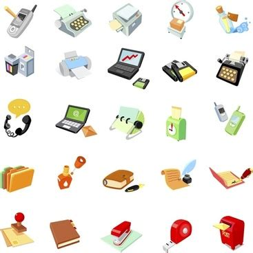Office Supplies Vector by Everyday Office Supplies Icon Vector Free Vector In