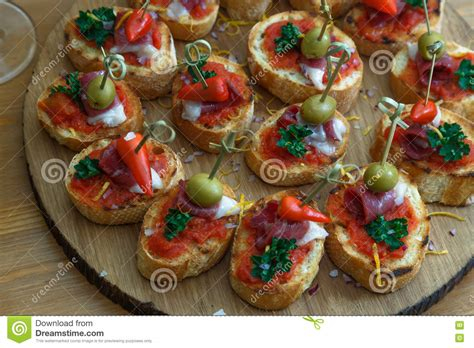 canapes finger food pinchos tapas canapes finger food stock image image 70465091