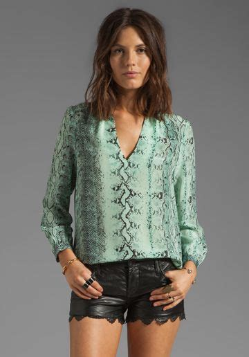 joie pearline irregular snake silk print blouse in pale aqua must find this my style