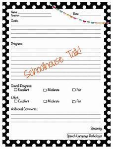 schoolhouse talk freebie progress report templates With speech therapy progress report template