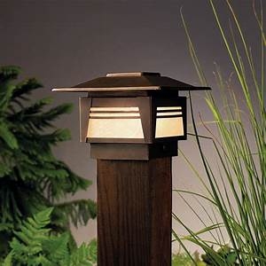 Kichler 15071 zen garden 1 light outdoor post lamp asian for Oriental outdoor lighting