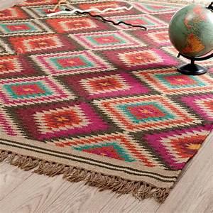 100 wool kilim carpet geometric bohemia indian black With maison du monde plaid