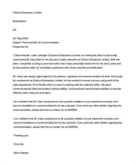 letter for recommendation sample letters of recommendation 9 examples in pdf word