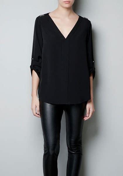 v neck blouses black rivet v neck sleeve chiffon blouse blouses tops