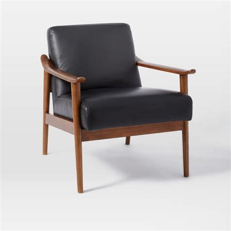 the interior mid century leather show wood chair in nero