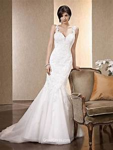 floor length wide straps backless lace mermaid wedding With mermaid wedding dress with straps