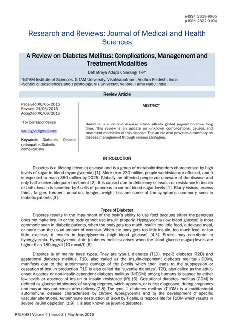 review  diabetes mellitus complications