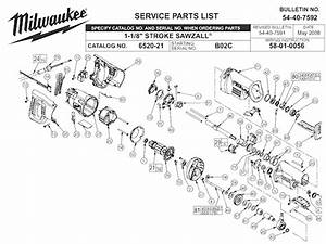 Milwaukee 6520-21 Parts List And Diagram