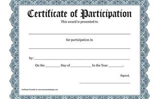 free printable certificates of participation template