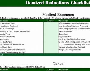 Excel Ledger Templates Itemized Deductions Checklist My Excel Templates