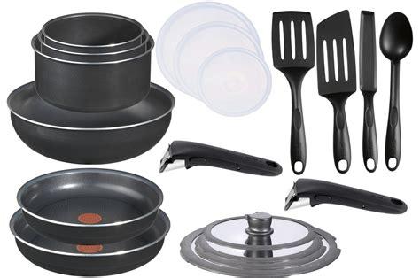 batterie de cuisine pour plaque induction casserole tefal ingenio 5 ptfe 20 pieces l0361405 set