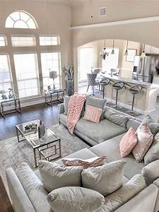 Grey, And, Blush, Living, Room, Inspo