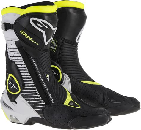 motorcycle street racing boots mens alpinestars s mx plus black yellow white motorcycle