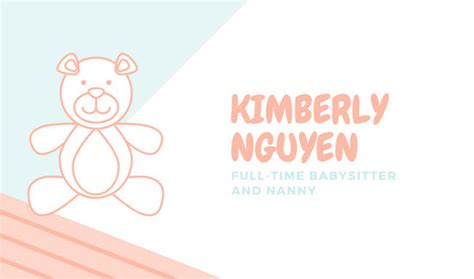 customize  babysitting business card templates