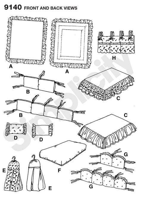 crib sheet pattern fitted sheet dust ruffle for crib sewing pattern 9140