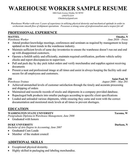 Warehouse Workers Resume by Warehouse Worker Resume Sle Resume Companion Simply
