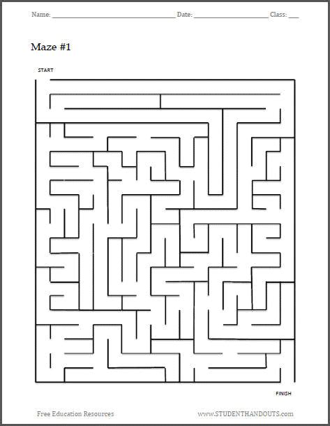 Free Printable Maze Worksheet #1  Student Handouts