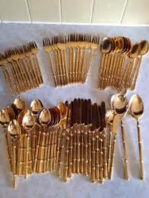 global kitchen knives 75 stanley rogers goldtone flatware bamboo