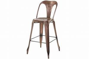 Tabouret De Bar Marron : tabouret de bar industriel avec dossier marron samson design sur sofactory ~ Melissatoandfro.com Idées de Décoration