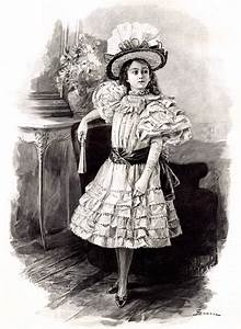 Victorian Little Girl in a Fancy Dress - Instant Art