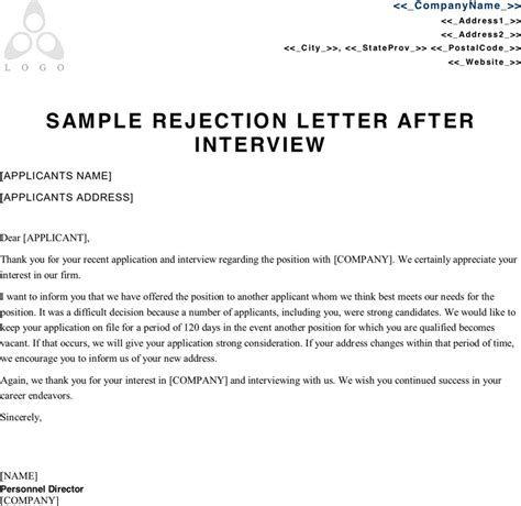 rejection letter template after letter