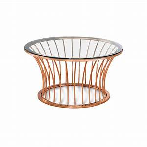 Furniture of america depoy round glass top coffee table in for Rose gold round coffee table