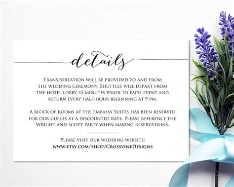 details card template wedding templates  printables