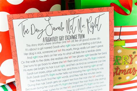 left and right and across christmas tale a hilarious left right poem gift play plan