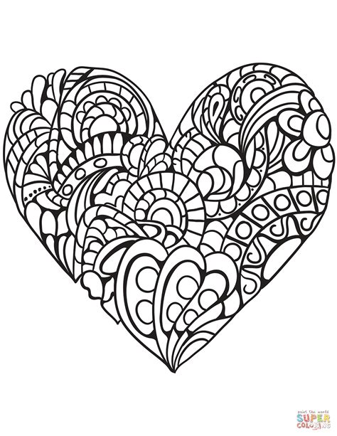 zentangle heart coloring page  printable coloring pages