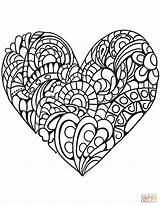 Coloring Heart Zentangle Printable Paper Drawing Puzzle sketch template