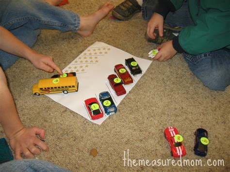 8 preschool math ideas using vehicles the 442 | preschool math with toy vehicles 2