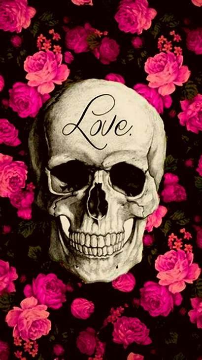 Skull Caveira Parede Papel Iphone Sugar Roses
