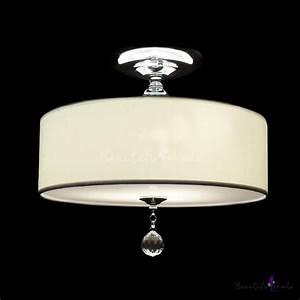 Grand white fabric drum shade semi flush ceiling lights adorned with polished chrome finish iron