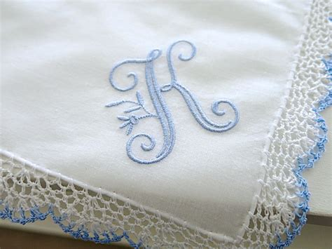 monogram m handkerchiefs initial handkerchief by wedding handkerchief blue white crochet lace handkerchief