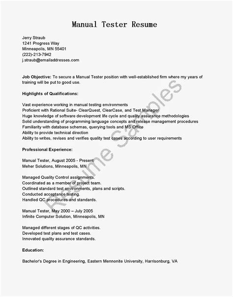 Tester Resume Format by Resume Sles Manual Tester Resume Sle