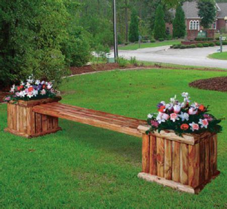 wooden bench  flower pots google search landscape